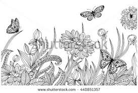 Vector Floral Background Page For Coloringa Monochrome Pattern Of Flowers And Butterflies