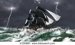 Clipart Of Sailing Ship In A Lightning Storm K7243661