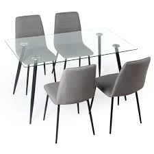 Gerona Glass Table And Four Chairs Set Dining