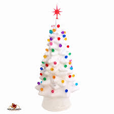 10 Inch Tall White Ceramic Christmas Tree With Gum Drop Color Lights