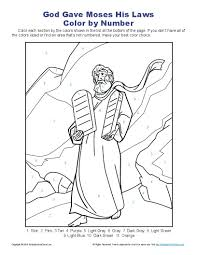 This Color By Number Bible Activity Will Give Kids A Chance To Wonderful Image Of Moses Coming Down From The Mountain With Tablets Containing
