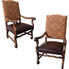 Enchanting Rustic Leather Dining Chairs Olde World Fabric Arm Chair Storeroom