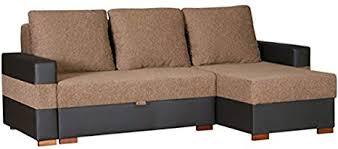 apollo groß braun und schwarz stoff und kunstleder ecke sofa