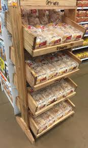 Rustic Wood Bakery Grocery Display Shelf Bread Tilted