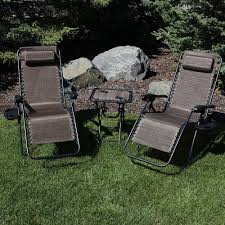 Sunnydaze Outdoor Zero Gravity Reclining Lounge Chairs Set Of 2, With  Pillows, Cup Holders And Matching Table With Built-In Cup Holders, Dark  Brown Phi Villa Outdoor Patio Metal Adjustable Relaxing Recliner Lounge Chair With Cushion Best Value Wicker Recliners The Choice Products Foldable Zero Gravity Rocking Wheadrest Pillow Black Wooden Recling Beach Pool Sun Lounger Buy Loungerwooden Chairwooden Product On Details About 2pc Folding Chairs Yard Khaki Goplus Wutility Tray Beige Headrest Freeport Park Southwold Chaise Yardeen 2 Pack Poolside