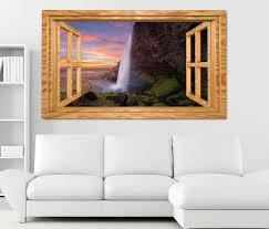 3d wandtattoo wasserfall island schöne landschaft fenster wandbild wohnzimmer wand aufkleber 11l1923 wandtattoos und leinwandbilder günstig