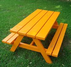 backyard bash cross legged picnic table natural picture on cool