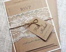 Rustic Wedding Invitation Lace Kraft