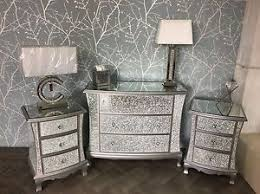 Silver Mirrored Crackle Glass Bedroom SET Chest of Drawers 2
