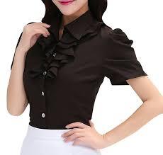 women short sleeve formal top shirt ladies work casual blouse
