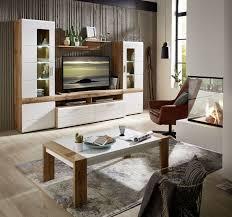 le mans wohnwand montiert weiß eiche altholz