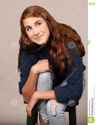 teen with long wavy hair stock photo image 70800706