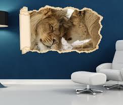 3d wandtattoo tapete löwe löwin tiere paar liebe hochzeit durchbruch selbstklebend wandbild wandsticker wohnzimmer wand aufkleber 11o1695
