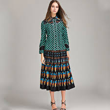 2018 Top Fashion Runway Bohemian Outfit Blouse Pleated Skirt Women Vintage Printed 2 Pieces Set Celebrity Twin Plus Size 4XL