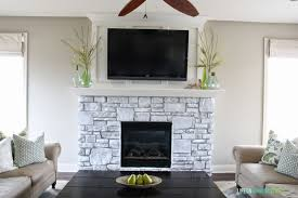 A White Washed Stone Fireplace Tutorial