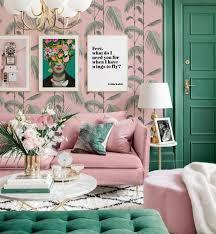 gute laune bilderwand chinoiserie frida kahlo bilder wohnzimmer grün rosa