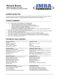 Resume Template Career Objectives For Resumes Objective Obtain Senior Level Management Position Example And Technical Skills