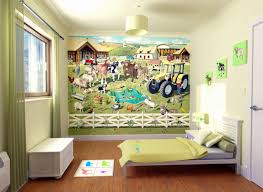 Farm And Zoo Animals Decal Wall Mural Design Decoration With Wooden Furniture For Boys Bedroom