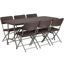 5.5-Foot Brown Rattan Plastic Folding Table Set With 6 Chairs Raven Farmhouse 6piece Ding Set The Dump Luxe Fniture 132 Inch Round Satin Tablecloth Black 6 Foot Farm Table Kountry Kupboards With 8 Chairs Foot Cedar Table Steves Creations Correll 30w X 72l Ft Counter Height 36h 34 Top Highpssure Laminate Folding Lifetime Foldinhalf White Granite 6foot Plastic Traing 2 Trapezoidal Back Stack Chairs Details About Portable Event Party Indoor Outdoor Weatherproof Buffet New Vintage Oak Refectory Kitchen And In Brnemouth Dorset Gumtree Banquet Seating Decor How To Up For Holiday Parties Lerado 6ft Foldin Half Rect Table Raptor Concept Store
