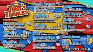 Menu | Tony's Tamales And Catering