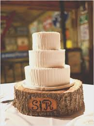 Simple White Cake On A Rustic Tree Trunk Stand Image Below Stump Wedding