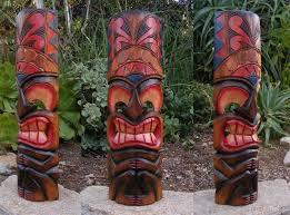 Patio Tuerca Panama Direccion by Tiki Bar Tiki Tribal Totem Madera Pared Máscara Patio Tropical