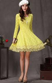 yellow long sleeve flower lace pleated dress abaday com