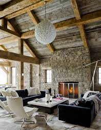 Interior Wonderful Living Room Applying Rustic Home Decor Ideas With Black White Sleek Table Furnished