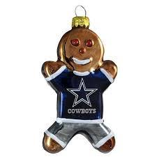 Dallas Cowboys Blown Glass Gingerbread Man Christmas Tree Ornament