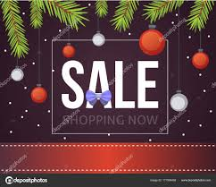 Christmas Sale Banner Template With Glitter Balls Ribbons And Decoration New Year Tree Branches Background Vector By Denis08131mailru