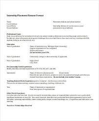 Summer Internship Resume Template