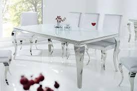 esstisch barock opalglas edelstahl weiß silber 200cm dunord