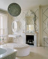 Chandelier Over Bathroom Vanity by Impressive Round Tufted Ottoman In Family Room Traditional With