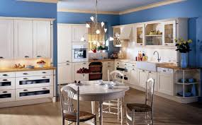Country Styled Kitchen Decorating Ideas With Soft Blue Wall Color And Rustic White Island