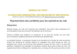 assesseur titulaire bureau de vote calaméo formation scrutateur bureau de vote