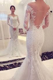 Charming f The Shoulder Long Sleeves Lace Mermaid Wedding Dress