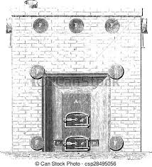 Front View Of The Basement Furnace Vintage Engraving