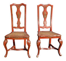 French Provincial Accent Chair by Vintage French Chinoiserie Hand Painted Red Accent Chairs A Pair