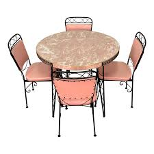 Vintage Pink Wrought Iron Mid-Century Dining Table W/4-Chairs & 2-Extensions Portrayal Of Wrought Iron Kitchen Table Ideas Glass Top Ding With Base Room Classic Chairs Tulip Ashley Dinette Set Zef Jam Outdoor Patio Fniture Black Metal Nz Kmart And Room Dazzling Round Tables For Sale Your Aspen Tree Cafe And Chic 3 Piece Bistro Sets Indoor Compact 2 Folding Chair W Back Wrought Iron Dancing Girls Crafts Google Search
