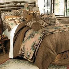 A Vintage Pinecone Print Adds Lodge Beauty To The Tweed Houndstooth Faux Leather And Microsuede Crestwood Bedding Collection In Shades Of Brown