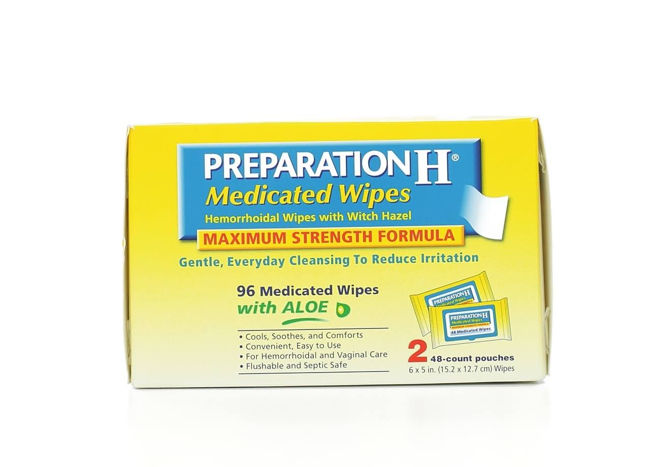 Preparation H Maximum Strength Formula Medicated Wipes - 2 Pack, 96 Mediated Wipes With Aloe