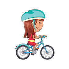 Royalty Free Girl Riding Bike Clip Art