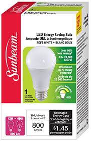 sunbeam high performance general purpose a19 led bulb 12 watts