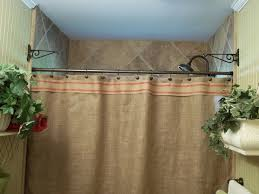 Smocked Burlap Curtain Panels by Burlap Shower Curtain Red Stripe Trim Rustic Country
