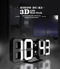 Digoo DC K3 Multi Function Large 3D LED Digital Wall Clock Alarm With