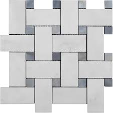 bianco carrara marble 2 x 4 basketweave mosaic with bardiglio