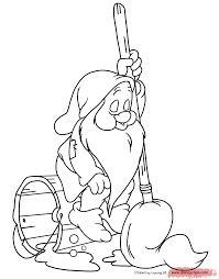 Coloring Page Sleepy Sleeping On A Bucket With Mop