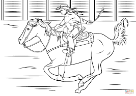 Cowgirl Riding Horse Coloring Page And Pages