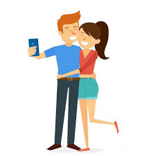Funny couple making a selfie