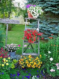 Creative IdeaLovely Garden Design With Rustic Old Wood Ladder Planters Also Small Colorful Flowers